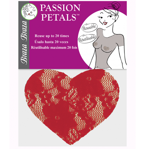 Braza Passion Red Petals Heart Shaped Lace Nipple Covers Package