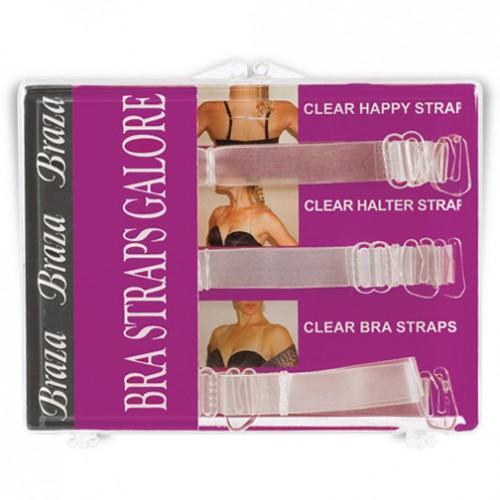 Braza Galore 3 Piece Set Clear Bra Straps Style 5006