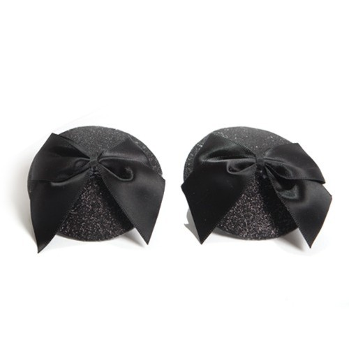 Bijoux Indiscrets Burlesque Black Glitter and Bow Pasties Front