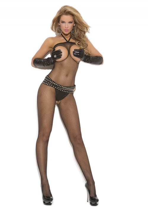Elegant Moments Seamless Fishnet Open Bust Halter Bodystocking