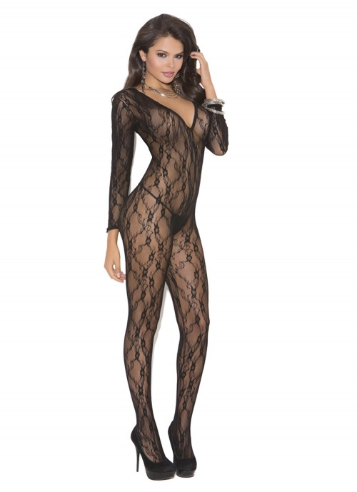Elegant Moments Deep V Long Sleeve Lace Bodystocking