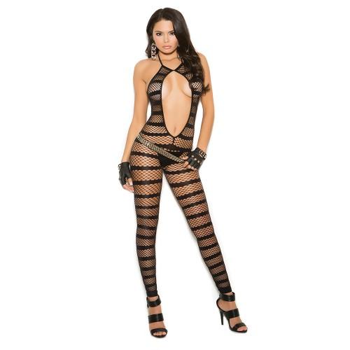 Elegant Moments Net Striped Bodystocking Black Front