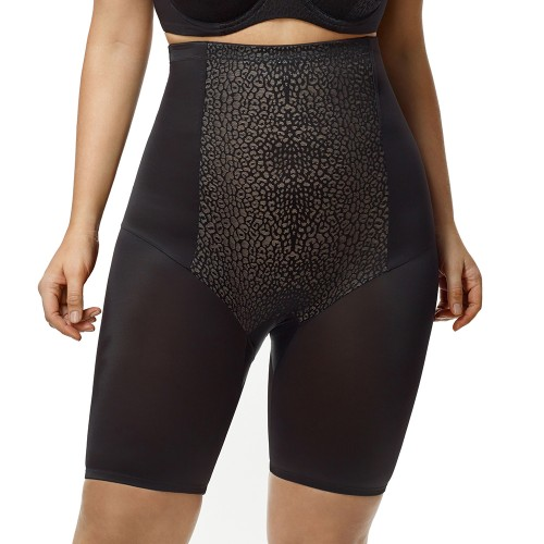 Elila High Waist Long Leg Leopard Shapewear Black Front