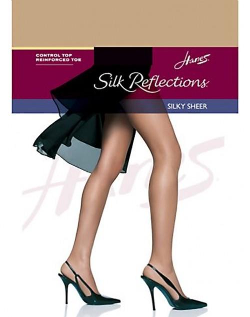 Hanes Silk Reflections Silky Sheer Control Top RT Pantyhose Natural