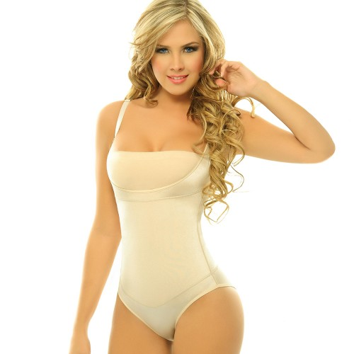 Body Line Lycra Latex Braless Body Briefer Nude Front