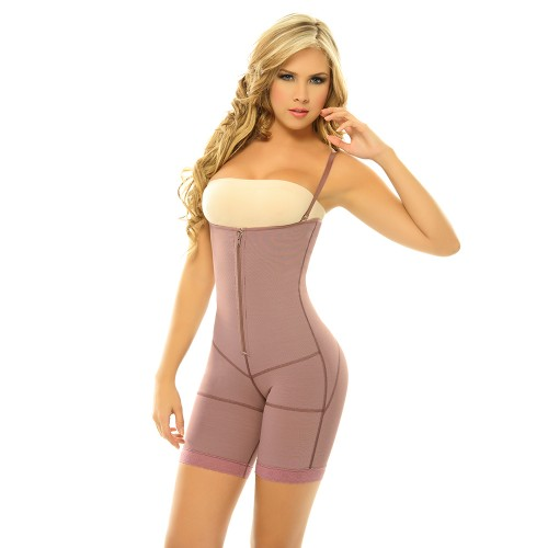 Siluet Postpartum High Compression Mid-Thigh Full Body Shaper Purple Front