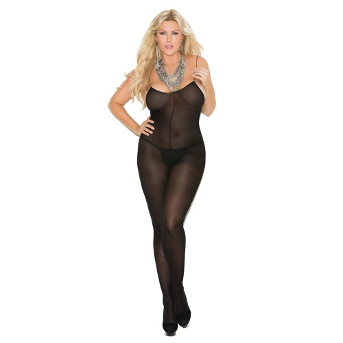 Elegant Moments Opaque Spaghetti Strap Bodystocking Black Front