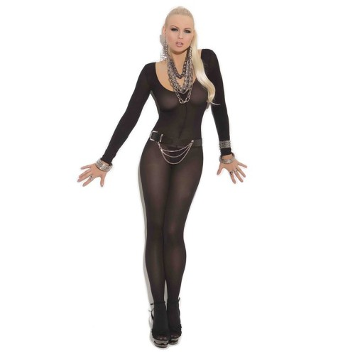 Elegant Moments Opaque Long Sleeve Open Crotch Bodystocking Black Front