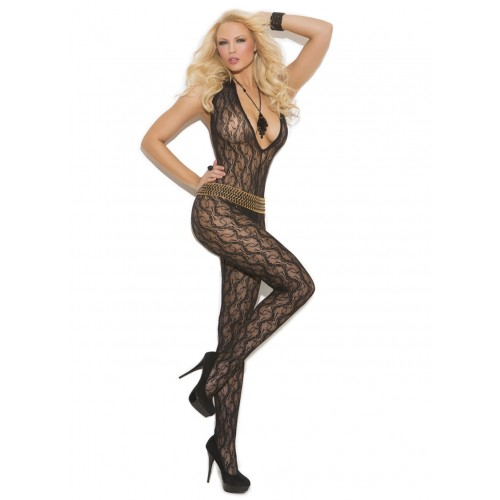 Elegant Moments Deep V Lace Bodystocking