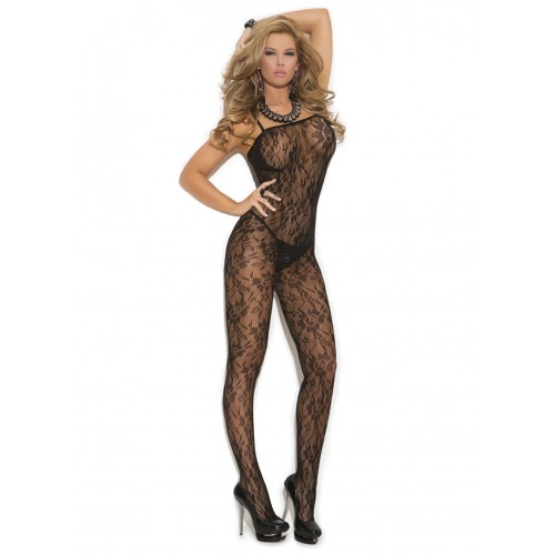 Elegant Moments Plus Size Rose Lace Bodystocking