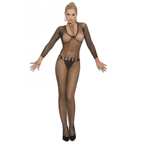 Elegant Moments Deep V Long Sleeve Fishnet Bodystocking
