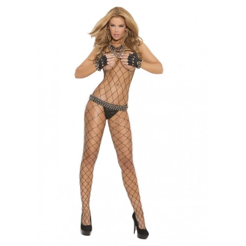 Elegant Moments Seamless Big Diamond Net Bodystocking