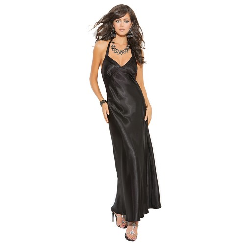 Elegant Moments Satin Halter Neck Charmeuse Nightgown Black Front