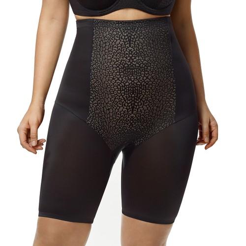 Elila High Waist Long Leg Leopard Shapewear Black Front