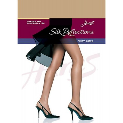 Hanes Silk Reflections Silky Sheer Control Top RT Pantyhose Natural