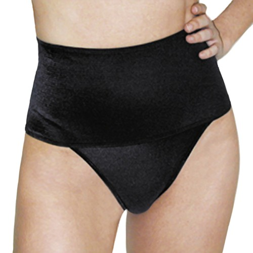 Rago Light Control Wide Band Thong Panty Black Front