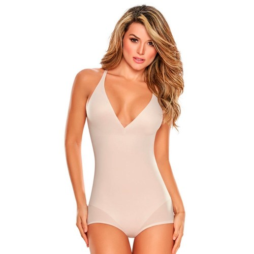 TrueShapers Seamless V-neck Bodysuit Nude Front