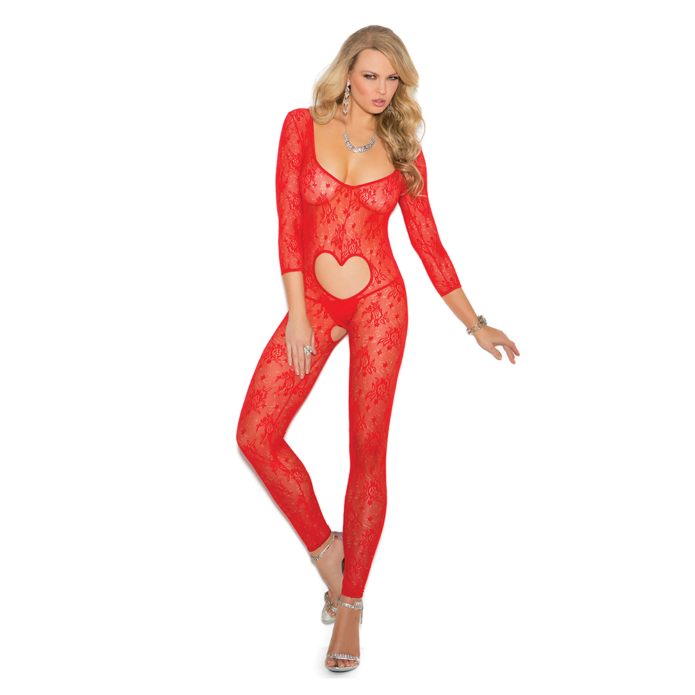 ca4e692424 Elegant Moments Fishnet and Lace Open Crotch Bodystocking Style 1689.   16.00. Elegant Moments Long Sleeve Footless Lace Bodystocking Front
